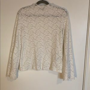 Banana Republic Lace Bell-Sleeve Mock-Neck Top